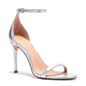 Rachel Zoe Ema Silver Leather Stiletto Sandal